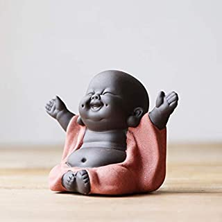 KINGZHUO Ceramic Little Cute Buddha Statue Monk Figurine Creative Baby Crafts Dolls Ornaments Gift Chinese Delicate Ceramic Arts and Crafts (Type 1)