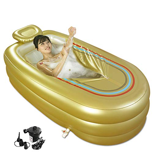 WAHHW Opblaasbare badkuip voor volwassenen, PVC, draagbare plooien met luchtpomp voor familiebadkamer, SPA