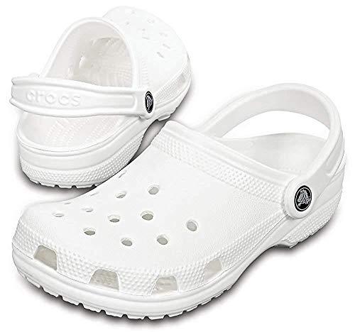 Crocs Classic Roomy_Fit - Zuecos unisex para adultos, Blanco, 37-38 EU (5M)