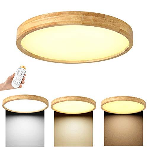 25W LED Deckenleuchte, Nordic Modern Holz Deckenlampe, dimmbar mit Fernbedienung, Φ40cm Runde Holz Lampe für Wohnzimmer, Schlafzimmer, Esszimmer, Büro, Kinderzimmer Leuchte Decke Licht Holzlampe