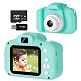 Vbepos Kids Camera, Digital Video Camera Toys for 3-12 Year Old Boys Girls, 1080P HD Action Camera Toddler Recorder Gift with 32GB SD Card for Indoor Outdoor Party Games, Green