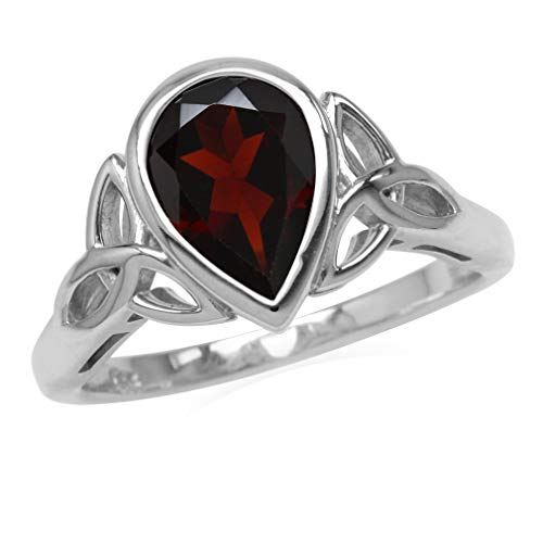 Silvershake Genuine 2.2ct. 10X7mm Garnet 925 Sterling Silver Triquetra Celtic Knot Ring Size 9