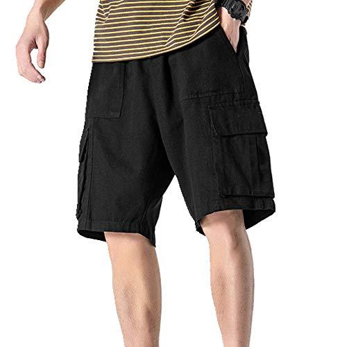 U/A Estate Multi Pocket Abbigliamento Da Lavoro Casual Pantaloncini Uomo Dritti Pantaloni Nero XXL