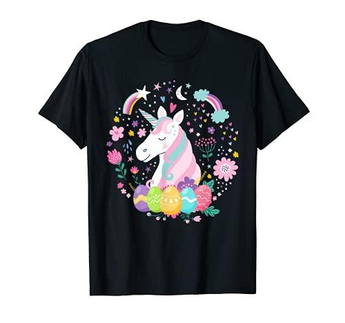 uova di pasqua unicorno Carino unicorno uova di Pasqua costume per donne ragazze bambini ragazzi Maglietta