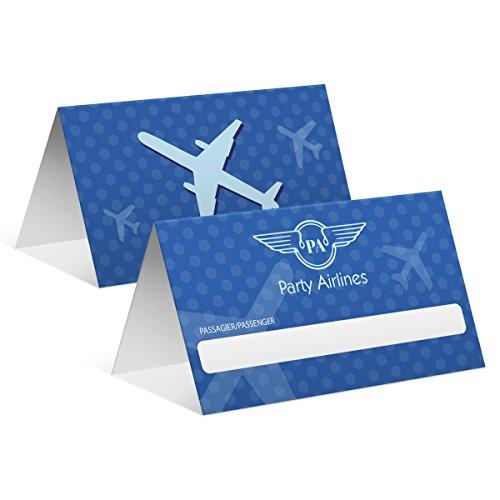50 x Blanko Platzkarten Namenskarten Tischkarten Geburtstag Hochzeit - Flugticket in Blau