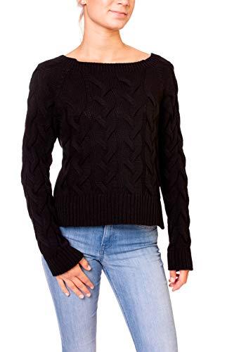 Preisvergleich Produktbild Easy Young Fashion Damen Pullover Kurzer Strick Pulli Strickpullover Rundhals Ausschnitt mit Zopfmuster One Size Schwarz