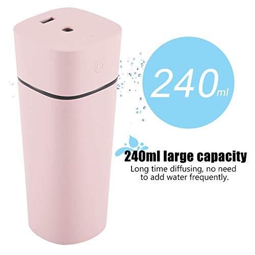 Humidificador de niebla fresca, 240 ml portátil USB recargable ultrasónico humidificador purificador de luz Noche difusor con mini ventilador para hogar oficina (Pink)