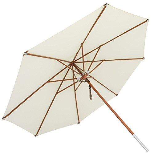 anndora Sonnenschirm, natur, 400 cm rund, Gestell Holz, Bespannung Polyester, 20 kg