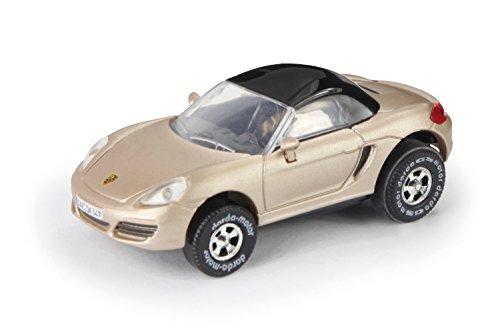 Darda 50347 - Darda Auto Porsche Boxster 981 Cabriolet goud, ca. 8 cm, raceauto met verwisselbare terugtrekmotor, voertuig met trekker voor kinderen vanaf 5 jaar, trekker voor Darda racebanen