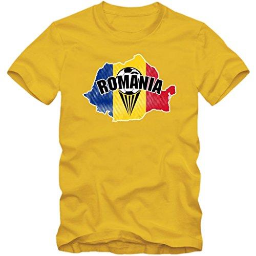 Rumänien EM 2016#1 T-Shirt | Fußball | Herren | Trikot | Tricolorii | Nationalmannschaft, Farbe:Gelb (Gold L190);Größe:M