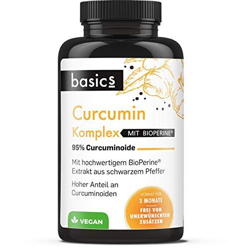 basics Curcumin C3 Komplex 500mg - Bio Kurkuma-Extrakt Kapseln hochdosiert mit Bioperine + schwarzer Pfeffer für höchste Absorption - 90 Stück- Vegan, laborgeprüft, 59 g