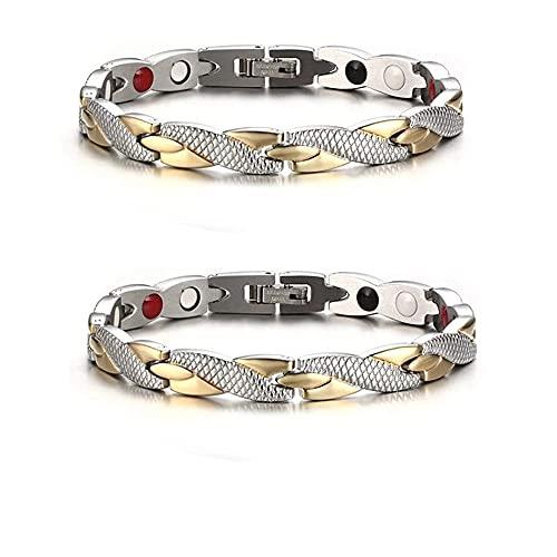 HUALAI Dragon Pattern Chain Bracelet,Ultra Strength Magnetic Therapy Bracelet,Men's Titanium Steel Bracelet,Adjustable Magnetic Therapy Bracelet For Adults Unisex (B)