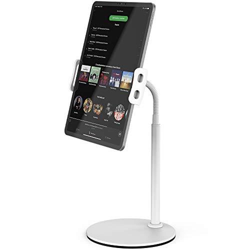 TATEGUARD Tablet-Ständer Halterung mit flexiblem Schwanenhalsförmigem Arm,Multi-Winkel verstellbar 360-Grad-Drehung Montieren Tablet-Ständer Halterung für Tablets bis zu 12.9 Zoll und Smartphones Weiß