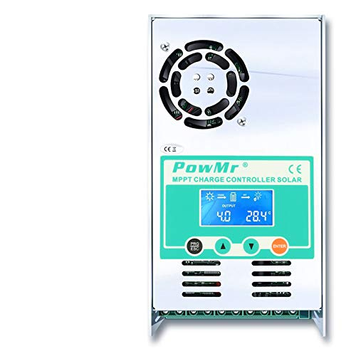 PowMr MPPT Charge Controller 60 amp 48V 36V 24V 12V Auto - Max 190VDC Input LCD Backlight Solar Charge for Vented Sealed Gel NiCd Lithium Battery【Software Update Version】(MPPT-60A)