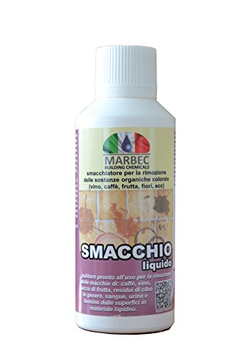 Marbec – smacchio Détachant liquide 250 ml | prêt à l'utilisation pour la suppression des taches organiques (vin, fruits, etc) sur les surfaces en Cotto, Pierre, Béton et céramique