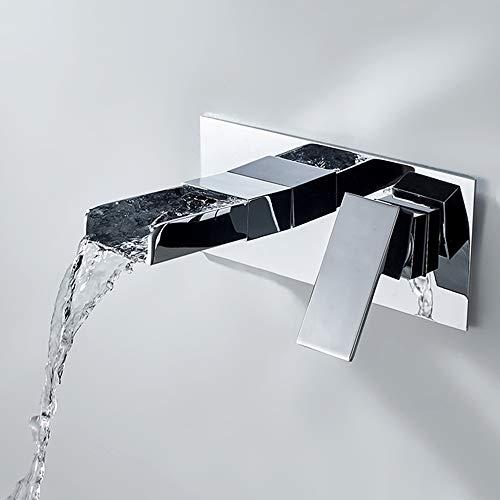 Grifo Lavabo Pared Grifería De Baño Montado En La Pared Moderno Grifo Cascada Bañera Baño Monomando Agua Fría Y Agua Caliente (C-plating)