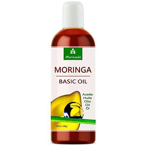 Huile de Moringa Basic 100ml de MoriVeda, pressée à partir de graines et gousses d'Oleifera, convient pour les soins de la peau, soins des cheveux, soin des plaies, anti-âge