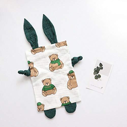 Baby rustgevende handdoek geruststellend speelgoed voor pasgeborenen cartoonsussen pop wandelwagen speelgoed baby schattige katoenen mousseline rustgevende handdoek # 8, groene beer