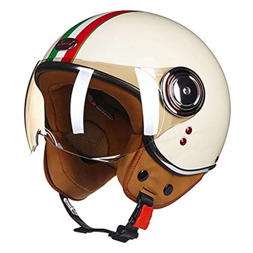 Soul Case Casco medio certificado D.O.T, casco abierto para motocicleta, motocicleta o crash casco con gafas visera bufanda motorista scooter Touring