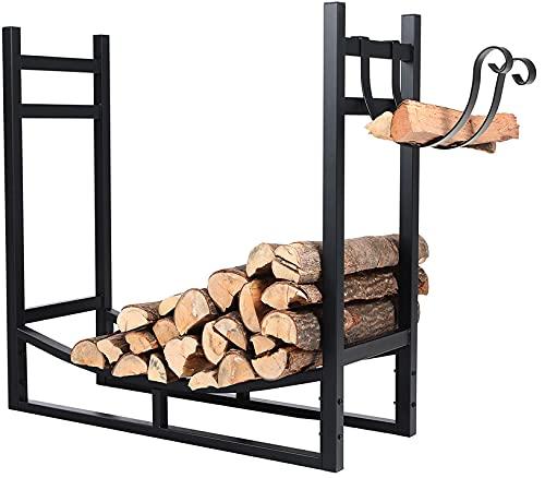 PHI VILLA Heavy Duty Firewood Racks Indoor/Outdoor Log Rack with Kindling Holder, 30 Inches Tall,...