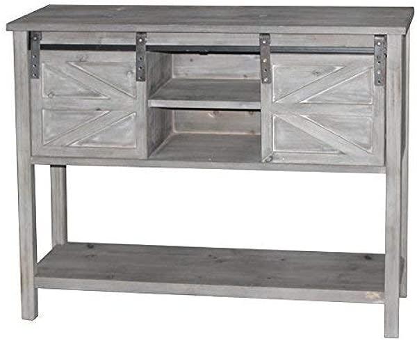 EHemco 仿古农舍控制台表与 2 个滑动谷仓门和货架存储空间在中间灰色