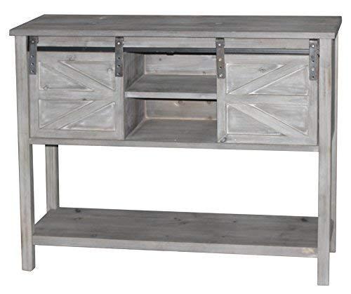 Mejor eHemco Farmhouse Console Table with Sliding Barn Doors and Bottom Shelf, Grey crítica 2020