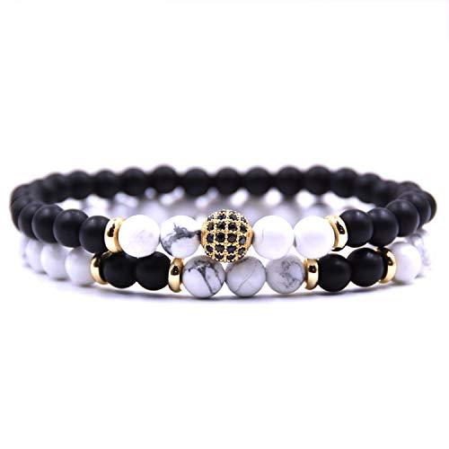 Pulsera Brazalete, Joyeria Regalo, 2Pc/Sets Natural Stone Bracelet Men Micro Pave CZ 8Mm Disco Ball Charms Bracelets For Women Men Jewelry Viking Bijoux 7