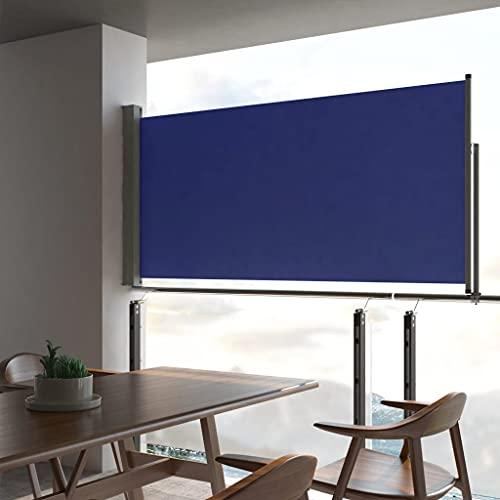 Tidyard Seitenmarkise Ausziehbar UV-beständig Sonnenschutz Sichtschutz Windschutz Seitenrollo Markise Balkon Garten Terrasse Blau 120x300 cm