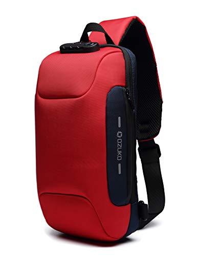 H HIKKER-LINK Umhängetasche Brusttasche Schultertasche Crossbody Sling Rucksack Anti-Diebstahl Tasche mit USB für Wandern Arbeiten Schule Rot