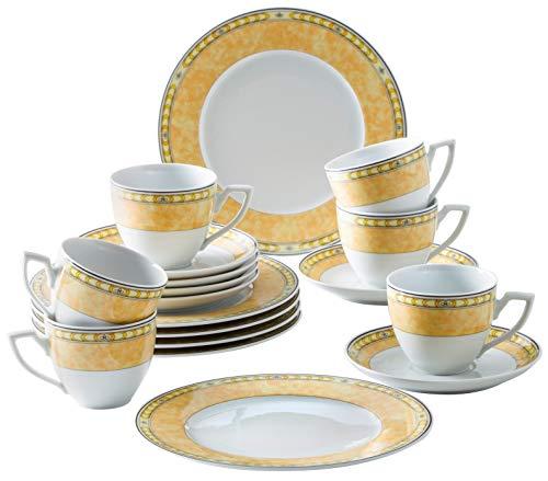 Kahla 040104M73996C Yvonne Gelb Porzellan Geschirrset für 6 Personen Kaffeeservice Teeservice Frühstück Tassen Teller 18-teilig Kaffeeset