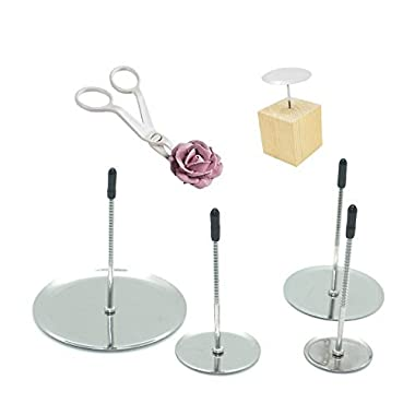 Astra Gourmet Cake flower nail & Flower Lifters & Wood Holder 6 Pcs/set, Stainless Steel Cake Cupcake Decor Tools Baking Tools for Icing Flowers Decoration
