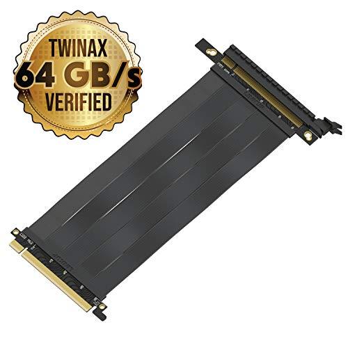 LINKUP - {20 cm} PCIE 3.0 16x Riser Cable Super Abgeschirmt Twinaxial PCI Express Steigleitung Kabel Portverlängerungs-Platte 2020 Rev | Gerade Buchse – TT kompatibel
