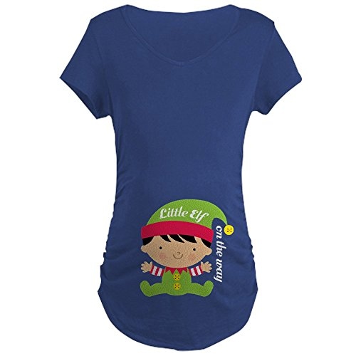 CafePress Christmas Elf Holiday Maternity T Shirt Cotton Maternity T-Shirt, Side...