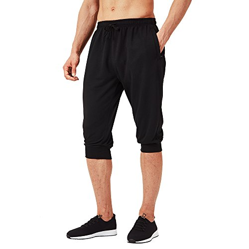 Naviskin Men's 3/4 Workout Training Jogger Capri Pants Athletic Gym Running Yoga Shorts Zipper Pockets