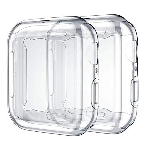 NIAGUOJI Compatibile con Apple Watch Screen Portector Serie 2/3 42 mm, Morbida TPU Copertura Completa Cover Protettiva Compatibile con iWatch Serie 2 3, 2 Pacchetti, Trasparente/Trasparente