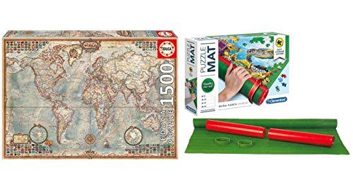 Outletdelocio Pack Puzzle Educa 16005. El Mundo, Mapa Politico. 1500 Piezas + Tapete Universal Puzzle Roll Clementoni