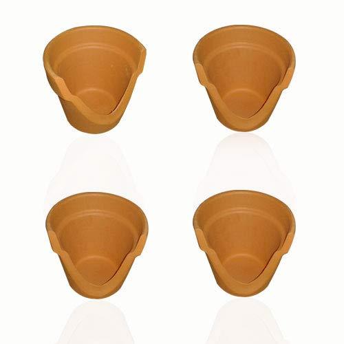 SMITS 4er-Set Teelichthalter aus Terracotta, Tontopf-Windlichter, Dreiviertel-Tontöpfe, h 8 cm, Ø o. 9,2 cm, Ø u. 6 cm