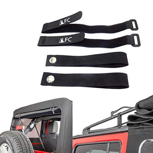 MFC Black Rear Window Roll Up Snap Straps & Soft Top Sunrider Straps Fit for Jeep Wrangler 2007-2021