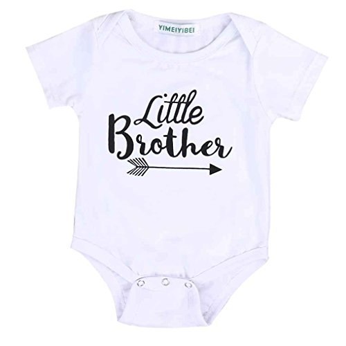 Mengonee Little Sister Big Brother Family Matching Outfits Little Sister Romper Big Brother Impreso Tops Cotton Outfits