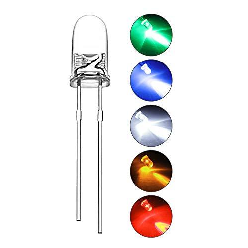 DiCUNO 1000pc 3mm LED diodo ad emissione di luce a testa tonda Kit di resistore a diodi con lampada a LED