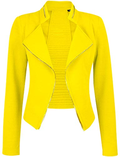 Michel Womens Casual Zip Up Blazer Slim Fit Crop Jacket 7912-YELLOW Large