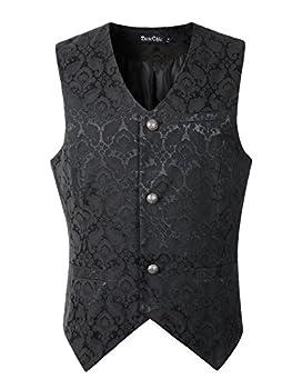 DarcChic Mens Gothic Vest Waistcoat Steampunk Victorian  XXXL Black