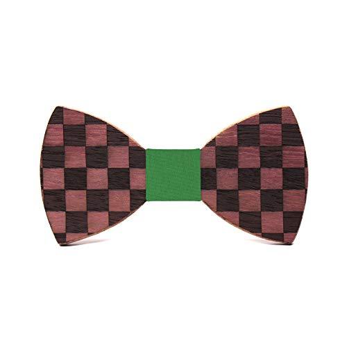 Territorial Pajarita de madera Chess. Colección de moda hombre: Línea boda y eventos. Diseño de tablero de ajedrez. Regalo elegante y original. Nudo a elegir (Verde)