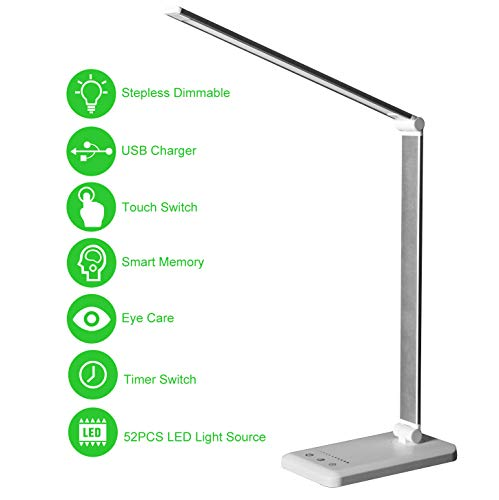 LED Desk Lamp,Eye-Caring Table Lamps,Stepless Dimmable Office Lamp with USB Charging Port,Touch/Memory/Timer Function,25 Brightness Lighting,Foldable...