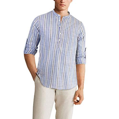 Girogama Camicia Manica Lunga Uomo Coreana a Righe Cotone Leggero 2485