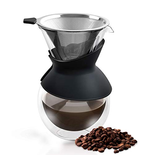 Pour Over Coffee Maker - 2020 Edition - Elegant Coffee Dripper Brewer Pot w/Glass Carafe & Permanent Stainless Steel Filter (27 oz) by Apace Living (Double Wall Glass, 800 ml / 27 oz)