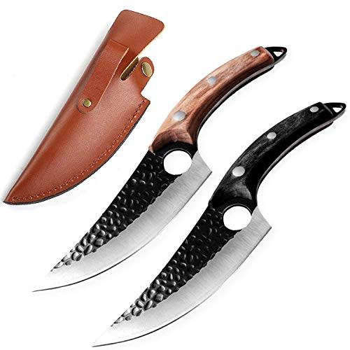 Küchenmesser Hackmesser - EXTREM SCHARF - Handgefertigt - Butcher Cleaver Outdoor Ausbeinmesser Küchenmesser Fleisch Messer Edelstahl mit Lederscheide (Boning Knife - Braun)