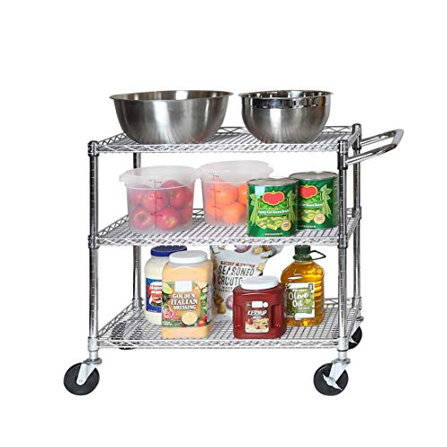 Seville Classics 3-Tier UltraDurable Commercial-Grade NSF Listed Service Utility Cart Shelving with Wheels, 34' W x 18' D, Chrome