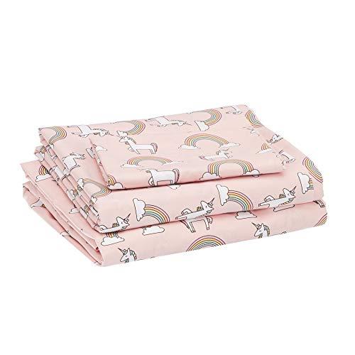 Amazon Basics Kids Unicorns & Rainbows Soft, Easy-Wash Microfiber Sheet Set - Twin, Peony Pink Unicorns