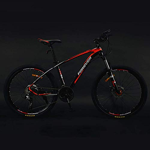 CENPEN Authentic anticarbon inner line mountain bike, adult men's bicycle competitive bicycle, light road double shock disc brakes variable speed mountain bike (Color : Red, Size : L)